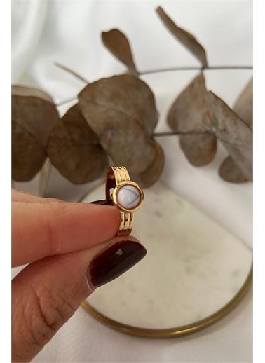 My Joyas Design Yuvarlak Marble Yüzük Altın